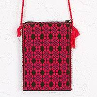 Cotton cell phone bag, 'Strawberry Geometry' - Mexican Cotton Cell Phone Bag in Strawberry and Moss Green