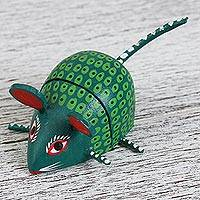Alebrije wood USB drive, 'Mischievous Rodent' - Hand-Painted Alebrije Wood Mouse USB Drive from Mexico