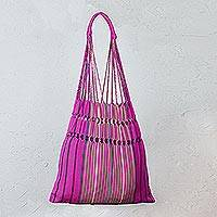 Cotton shoulder bag, 'Tradition in Pink' - Striped 100% Cotton Tote Bag with Fret Motif from Mexico
