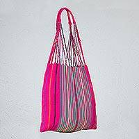Cotton shoulder bag, 'Heritage of Mexico' - 100% Cotton Fuchsia Striped Shoulder Bag from Mexico
