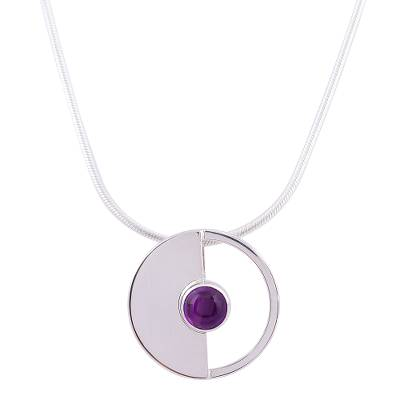 Amethyst pendant necklace, 'Modern Semicircle' - Modern Amethyst Pendant Necklace from Mexico