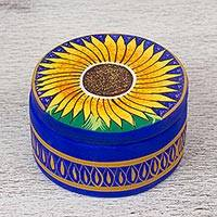 Ceramic decorative box, 'Sunflower Joy' - Hand Painted Sunflower Decorative Ceramic Box from Mexico