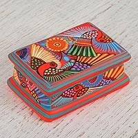 Ceramic decorative box, 'Jungle Radiance' - Multicolor Hand Painted Decorative Ceramic Box from Mexico