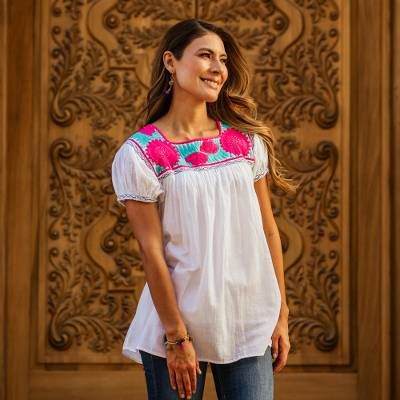Cotton blouse, 'Hot Pink Dianthus' - White Cotton Blouse with Hot Pink Floral Embroidery