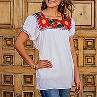 Cotton blouse, 'Cherry Red Dahlias' - White Cotton Mexican Blouse with Red and Yellow Flowers