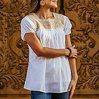Cotton blouse, 'Beige Biosphere' - Beige Lotus Embroidery on a White Cotton Mexican Blouse