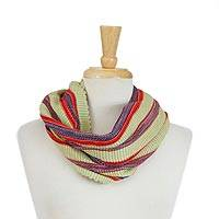 Cotton infinity scarf, 'Folkloric Tradition' - Multicolored Striped Cotton Infinity Scarf from Mexico