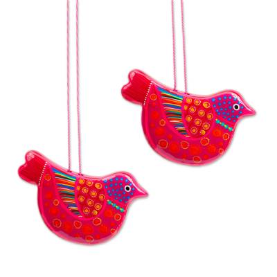 2 Handcrafted Hot Pink Ceramic Dove Ornaments from Mexico