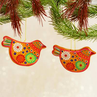Ceramic ornaments, 'Marigold Doves' (pair) - 2 Yellow Floral Ceramic Peace Dove Ornaments Crafted by Hand
