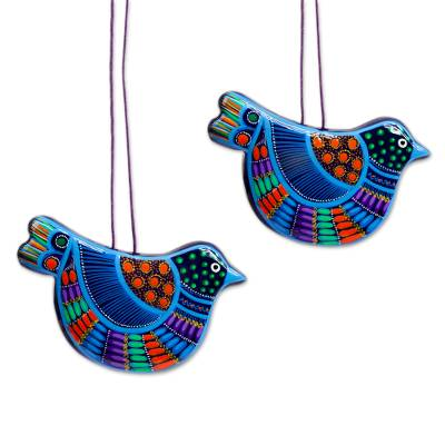 2 Blue Ceramic Dove Ornaments Handcrafted in Mexico