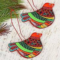 Ceramic ornaments, 'Happy Ginger Dove' (pair) - Ceramic Handcrafted and Painted Orange Dove Ornaments (Pair)