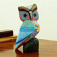 Ceramic statuette, 'Fiesta Owl' - Hand-Painted Ceramic Owl Statuette in Fiesta Colors