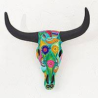Ceramic mask, 'Sonora Desert Longhorn' - Hand-Painted Ceramic Longhorn Steer Mask from Mexico