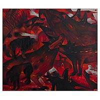 'Seem Like People' - Signed Modern Painting of Dogs in Red from Mexico