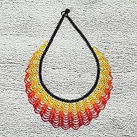 Glass beaded statement necklace, 'Daylight' - Handcrafted Beaded Statement Necklace from Mexico