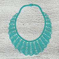 Glass beaded statement necklace, 'Beach Waves' - Mexican Artisan Crafted Glass Beaded Statement Necklace