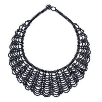 Hand Made Black Glass Beaded Statement Necklace from Mexico