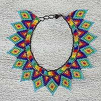 Glass beaded statement necklace, 'Rainbow Diamonds' - Mexican Handmade Multicolored Beaded Statement Necklace