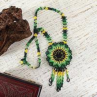 Glass beaded pendant necklace, 'Sunlit Flower' - Mexican Artisan Crafted Sunflower Beaded Pendant Necklace