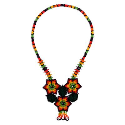 Mexican Handcrafted Floral Design Beaded Statement Necklace