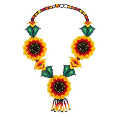 Mexican Hand Crafted Beaded Sunflower Statement Necklace