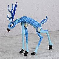 Wood alebrije sculpture, 'Reverent Blue Deer' - Blue Deer Alebrije Folk Art Sculpture from Oaxacan Artisans