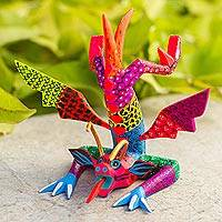 Wood alebrije statuette, 'Acrobatic Dragon' - Colorful Hand Carved and Painted Dragon Alebrije