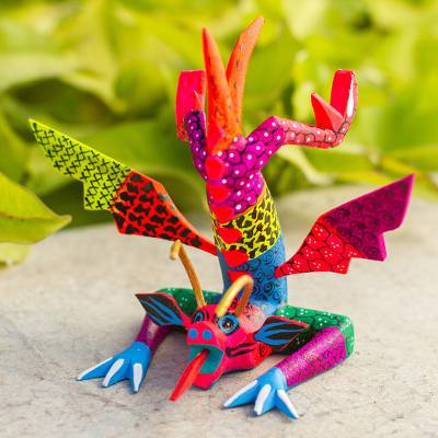 Wood alebrije sculpture, Acrobatic Dragon
