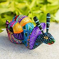 Wood alebrije statuette, 'Rainbow Snail' - Multicolored Wood Snail Alebrije Figurine from Mexico