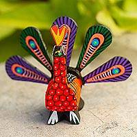 Alebrije wood sculpture, 'Colorful Peacock' - Hand-Painted Alebrije Wood Peacock Sculpture from Mexico