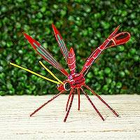 Wood alebrije figurine, 'Red Dragonfly' - Handmade Dragonfly Alebrije Figurine in Red from Oaxaca