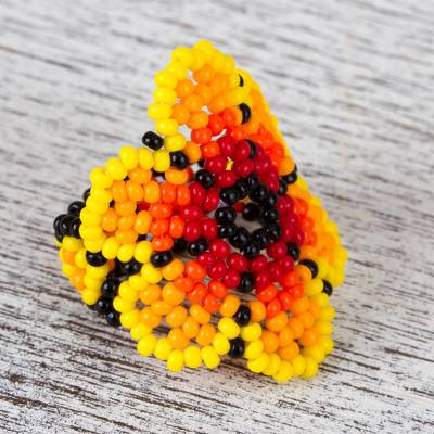 Glass beaded cocktail ring, 'Flaming Flower' - Glass Beaded Floral Cocktail Ring in Yellow from Mexico