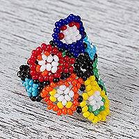 Glass beaded cocktail ring, 'Bubbly Petals' - Multicolored Glass Beaded Floral Cocktail Ring from Mexico