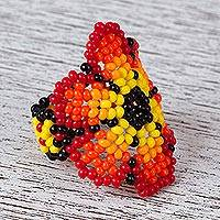 Glass beaded cocktail ring, 'Blazing Flower' - Glass Beaded Floral Cocktail Ring in Red from Mexico
