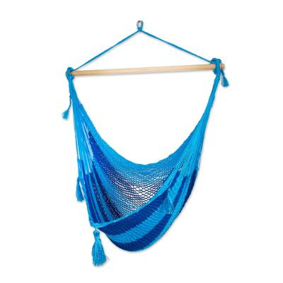 Hand Crafted Blue Striped Nylon Rope Hammock Swing