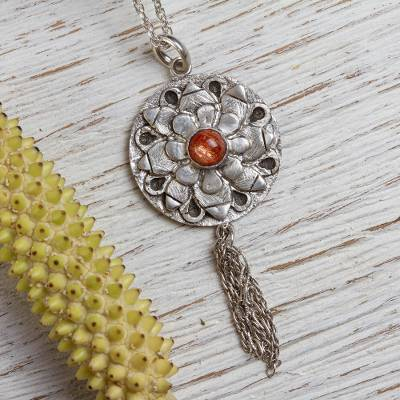 Sunstone pendant necklace, 'Sunset Ecstasy' - Sterling Silver and Sunstone Pendant Necklace from Mexico