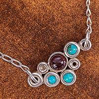 Amethyst and turquoise pendant necklace, 'Dazzle Me' - Sterling Silver and Amethyst Mexican Pendant Necklace