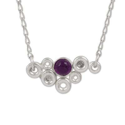Amethyst pendant necklace, 'Dazzle Me' - Sterling Silver and Amethyst Mexican Pendant Necklace