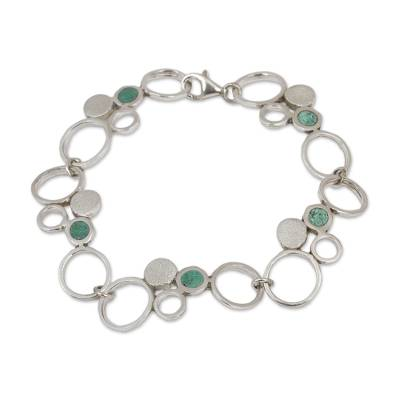 Handcrafted Geometric Sterling Silver Turquoise Circle Link Bracelet
