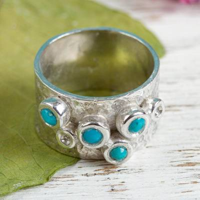 Turquoise band ring, 'Turquoise Dreams' - Sterling Silver and Turquoise Band Ring from Mexico