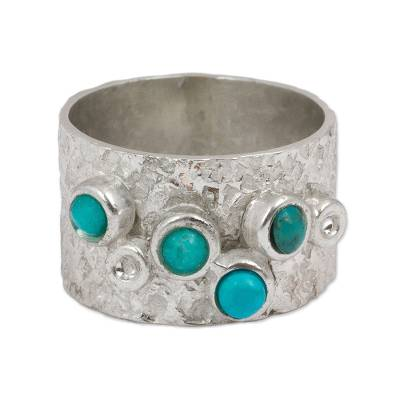 Sterling Silver and Turquoise Band Ring from Mexico