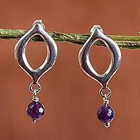 Amethyst dangle earrings, 'Royal Accent' - Sterling Silver and Amethyst Dangle Earrings from Mexico