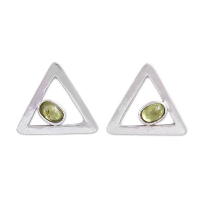 Sterling Silver and Peridot Triangle Drop Earrings