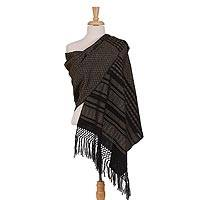 Cotton rebozo, 'Moonlit' - Black and Yellow Patterned 100% Cotton Hand Woven Rebozo