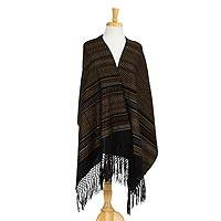 Cotton shawl, 'Sophisticated Designs' - Artisan Handwoven Cotton Shawl from Mexico
