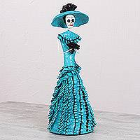 Papier mache and ceramic statuette, 'Flirting with Death' - Mexican Papier Mache and Ceramic Catrina Statuette in Blue