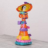 Papier mache and ceramic statuette, 'Colorful Catrina' - Colorful Mexican Papier Mache and Ceramic Catrina Statuette