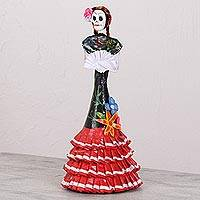 Papier mache and ceramic statuette, 'Catrina in Oaxaca Style' - Oaxaca Style Papier Mache and Ceramic Catrina Statuette