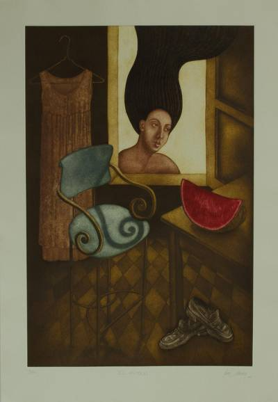 Giclee print on paper, 'The Craving' - Signed Surrealist Giclee Print of a Woman from Mexico