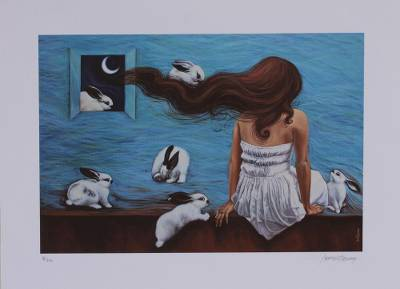 Giclee print on canvas, 'Young Woman with Rabbits' - Signed Giclee Print of a Girl with Rabbits from Mexico